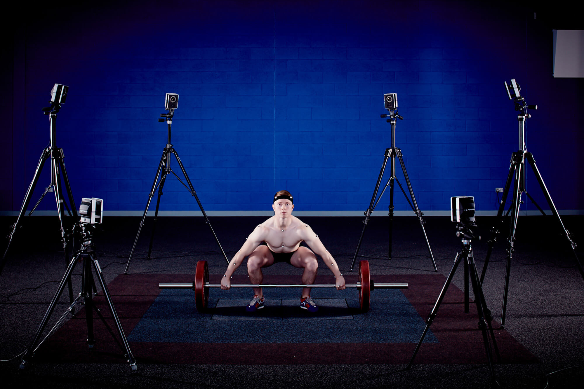 Weightlifter using our Vicon Motion Analysis Cameras in the Performance Suite