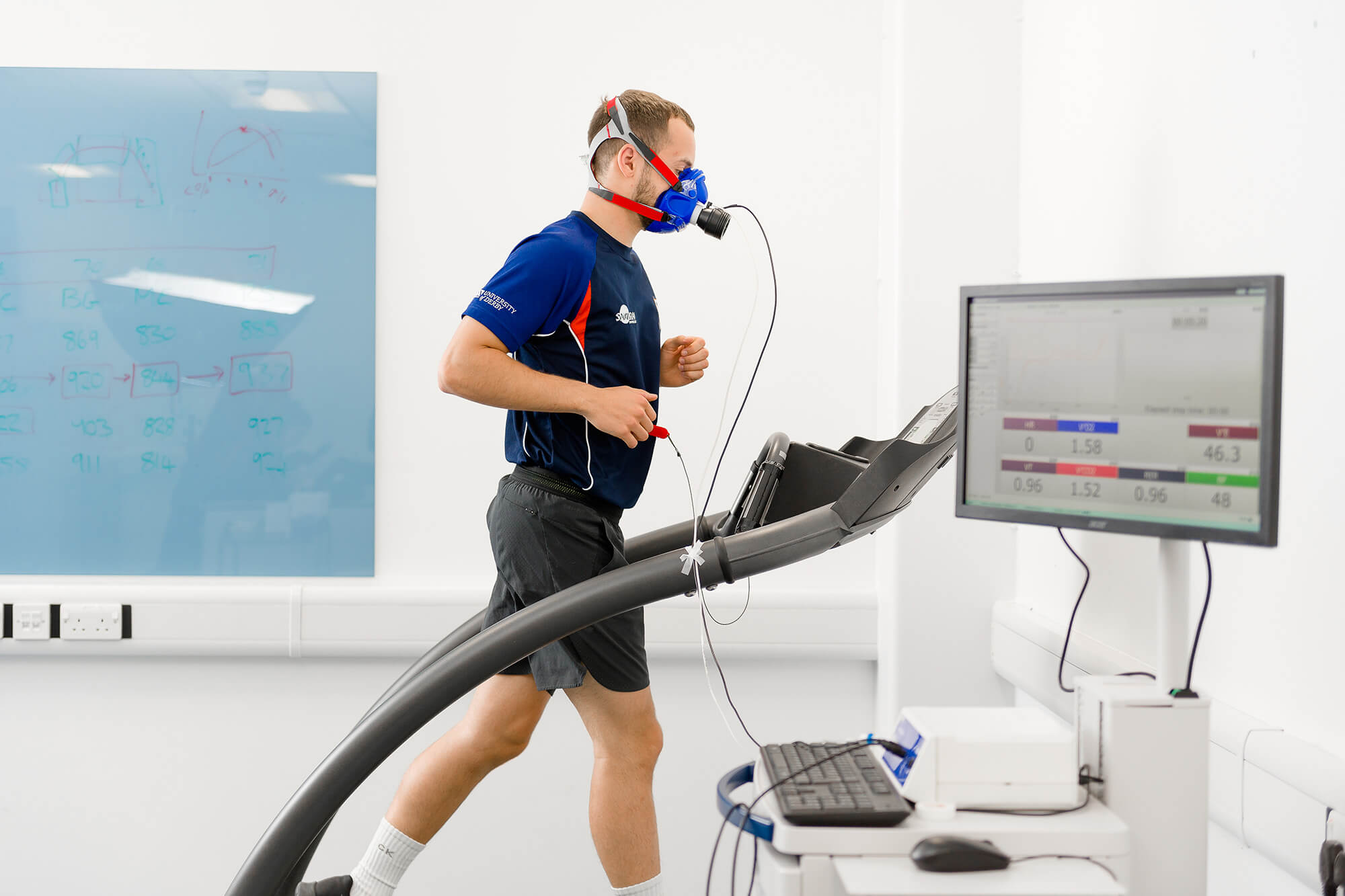 Runner being analysed in the Physiology Laboratory