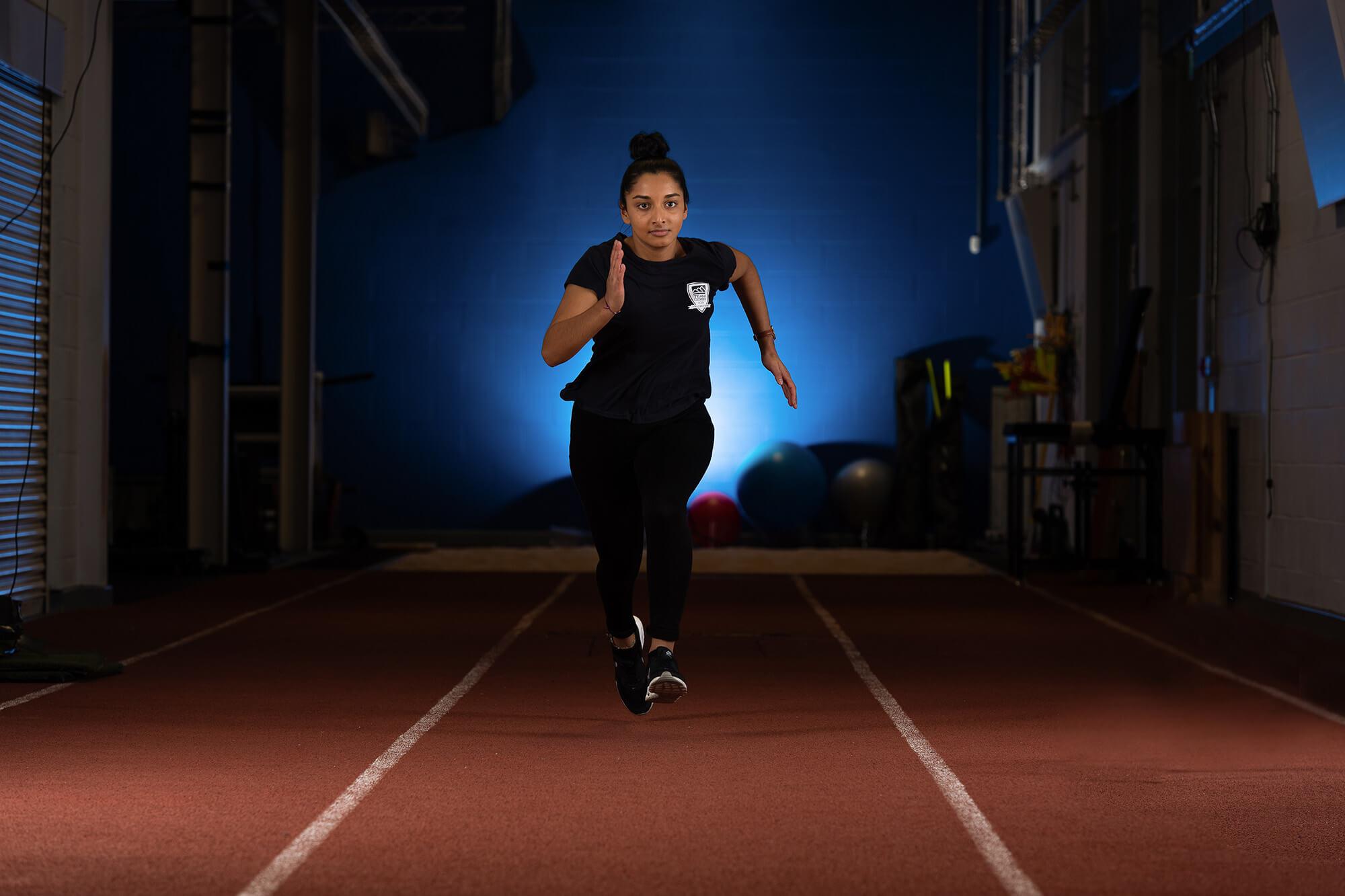 30m lane indoor sprint track in the Performance Suite
