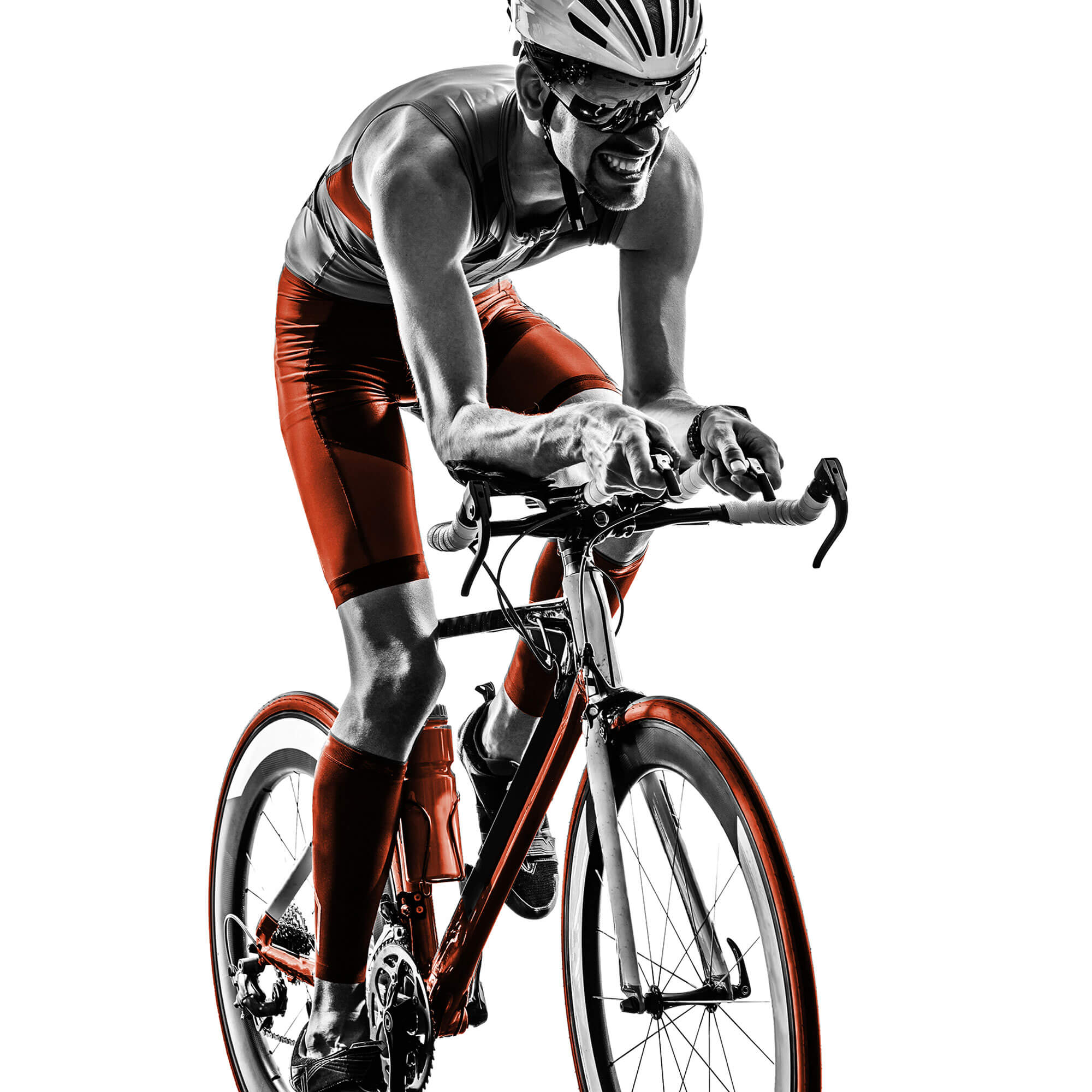 Grey and orange image of male cyclist