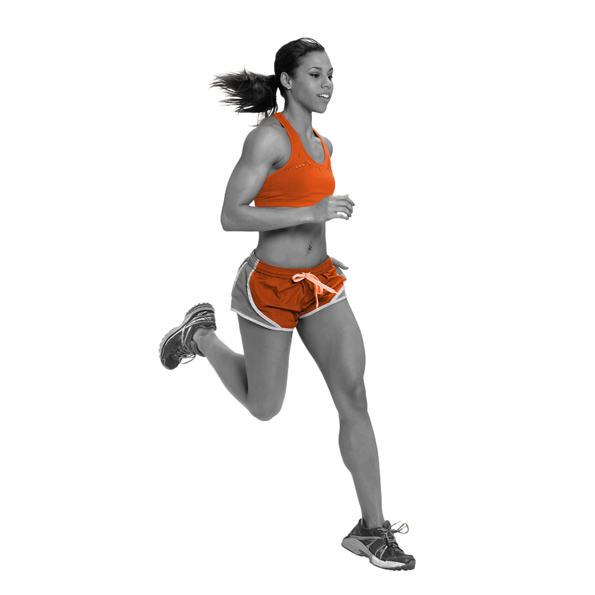 Orange and grey female runner