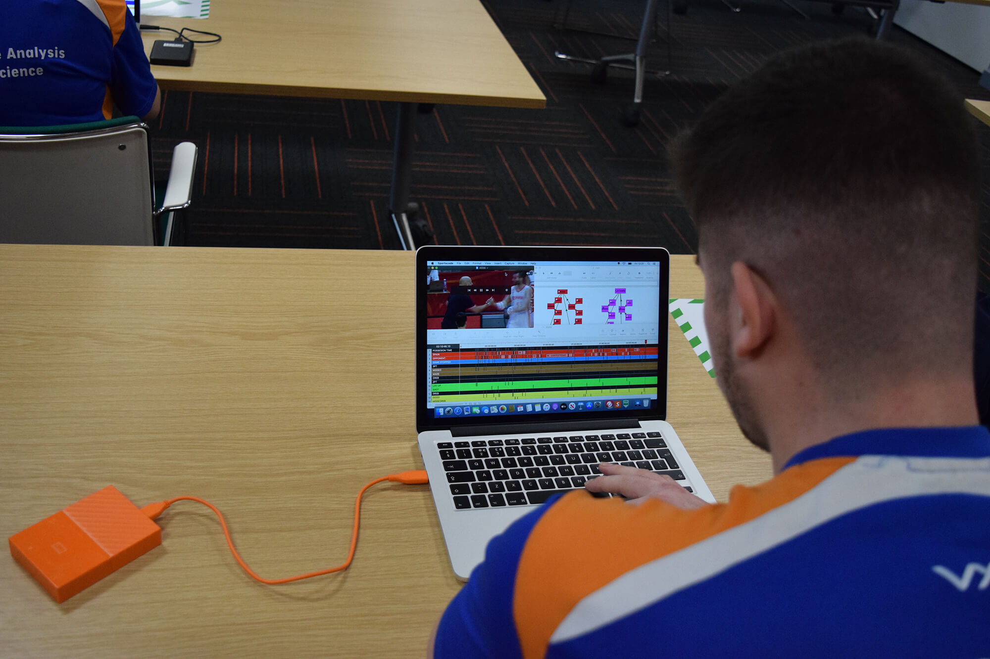 A male study working on Hudl software