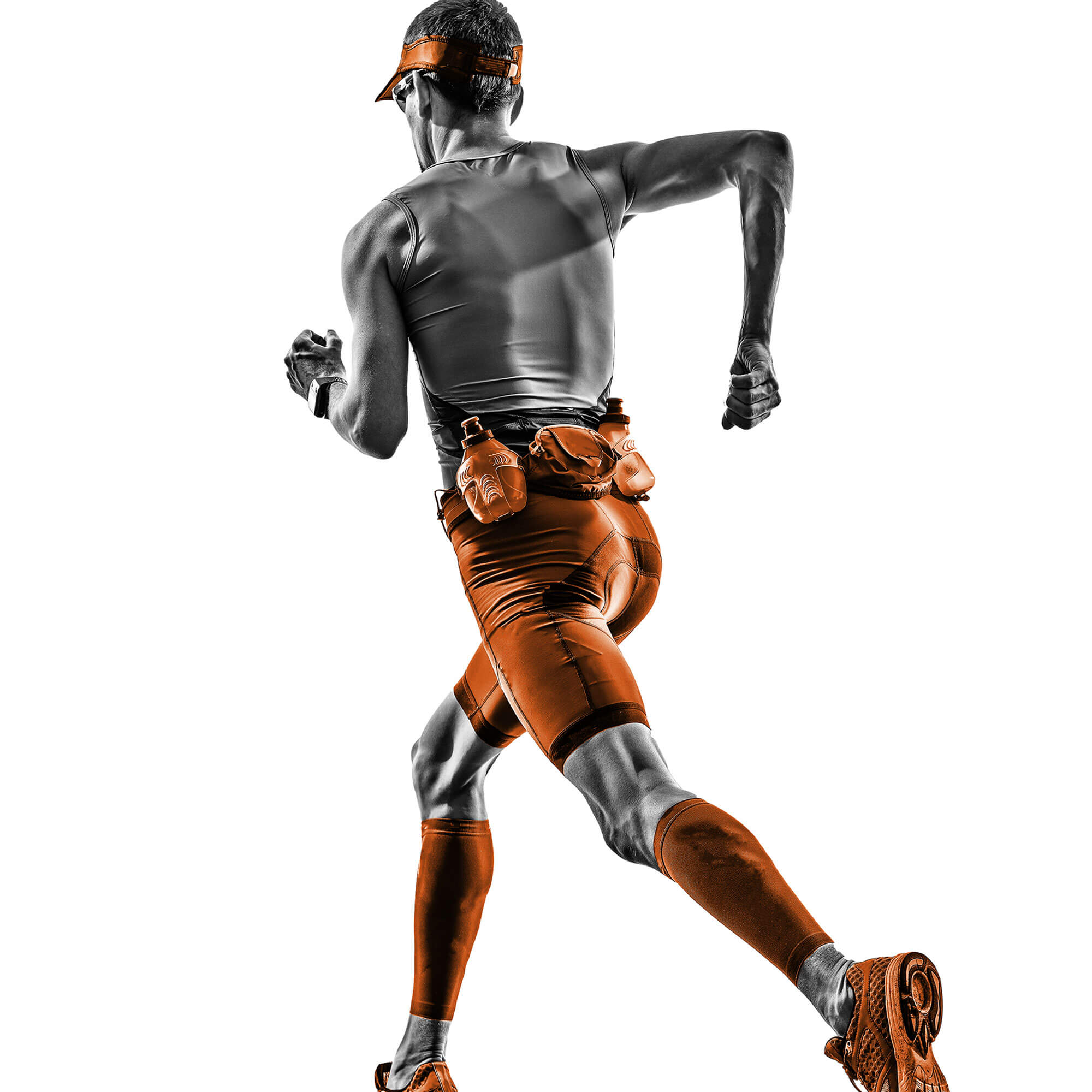 Black and orange image of a male runner