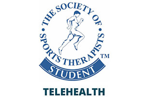 The Society of Sports Therapists student Telehealth text in blue on white background with a male running in the centre