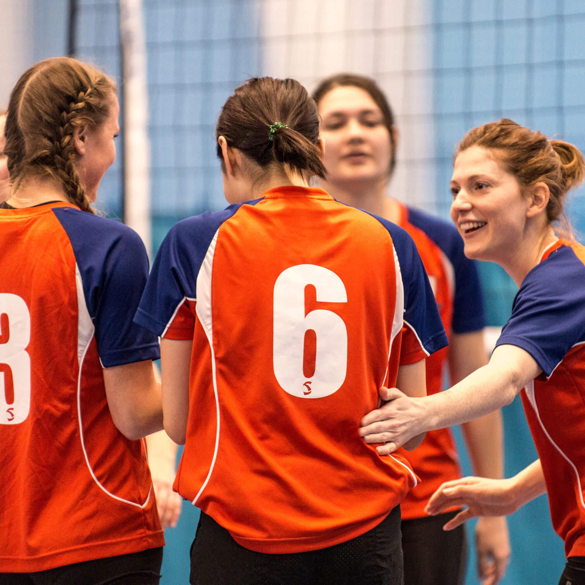 Scholarship volleyball female team - group celebration