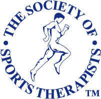 A 'The Society of Sports Therapists' logo featuring a navy logo of a man running.