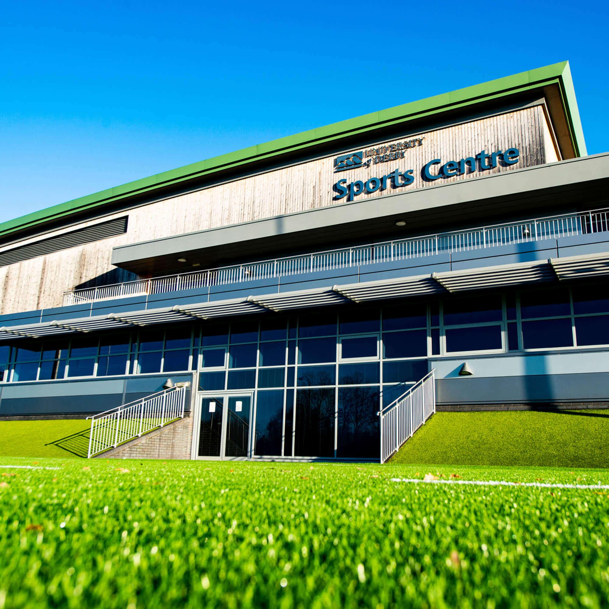 The University's sport centre on a sunny day.