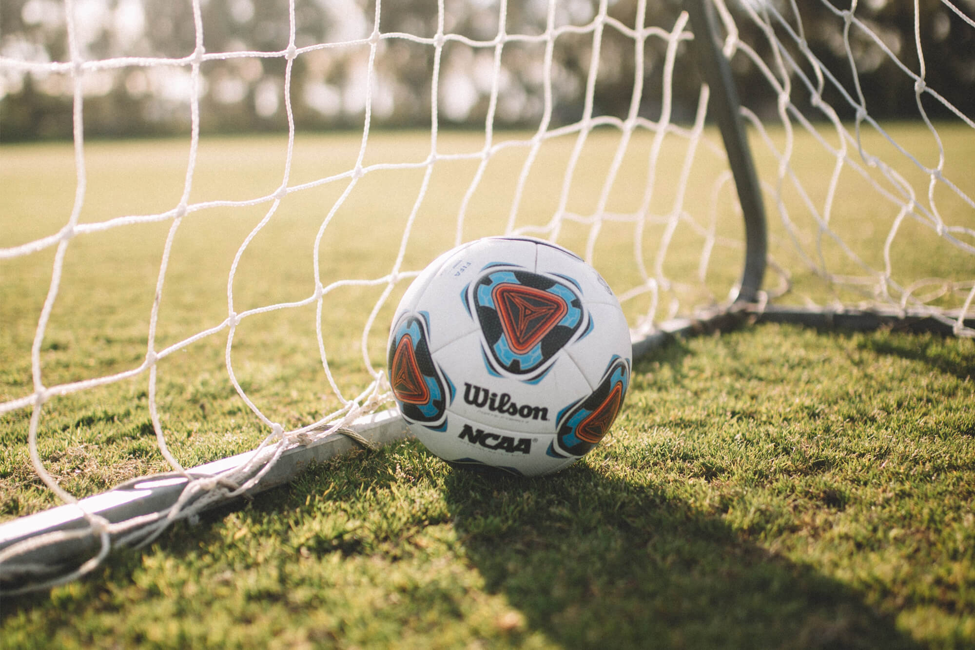 A football sitting in a goal net on a pitch.