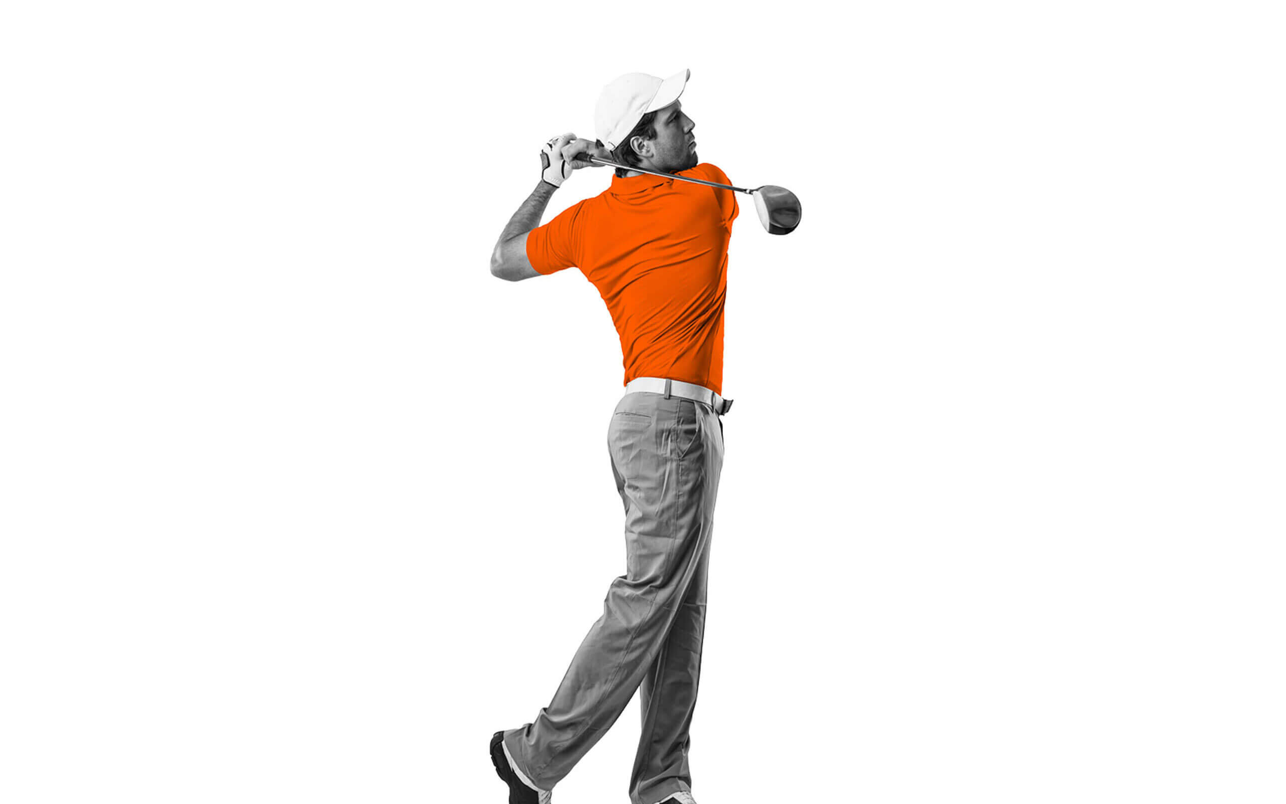 Grey and orange male golfer