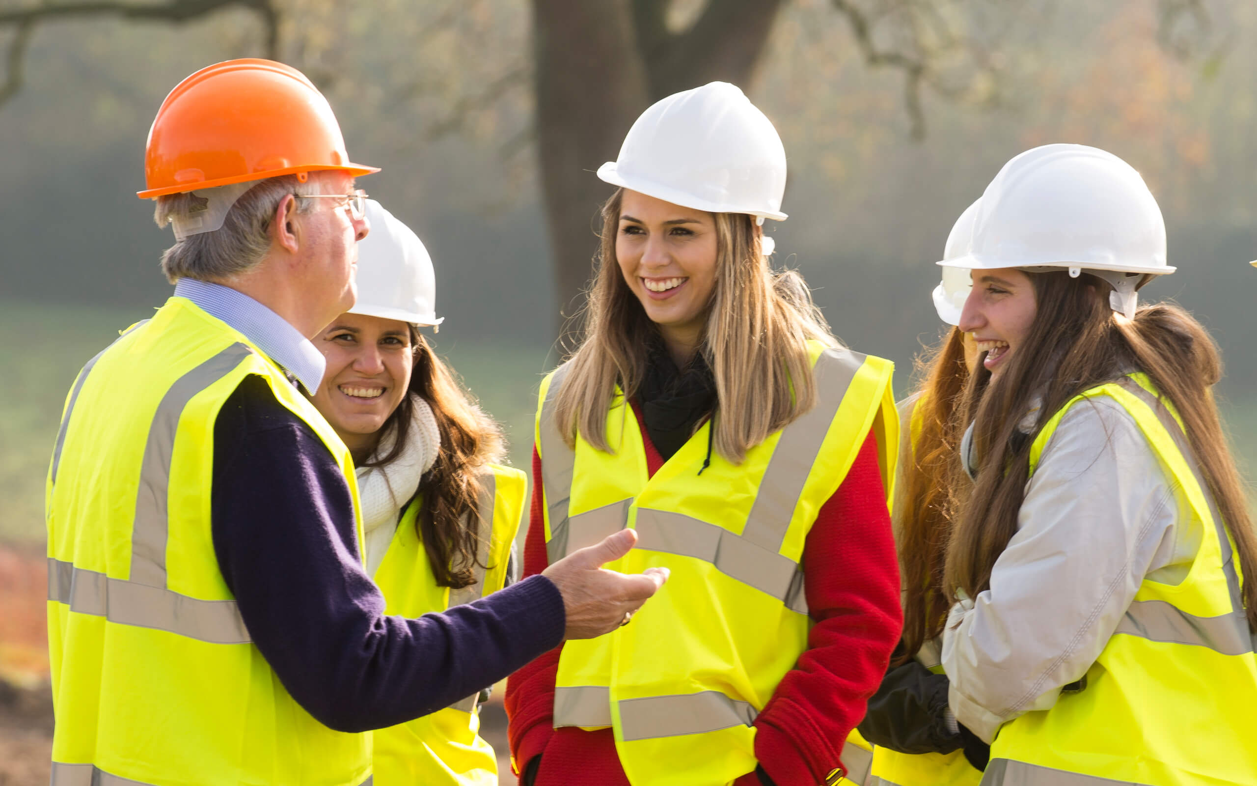 Students on a construction site location visit