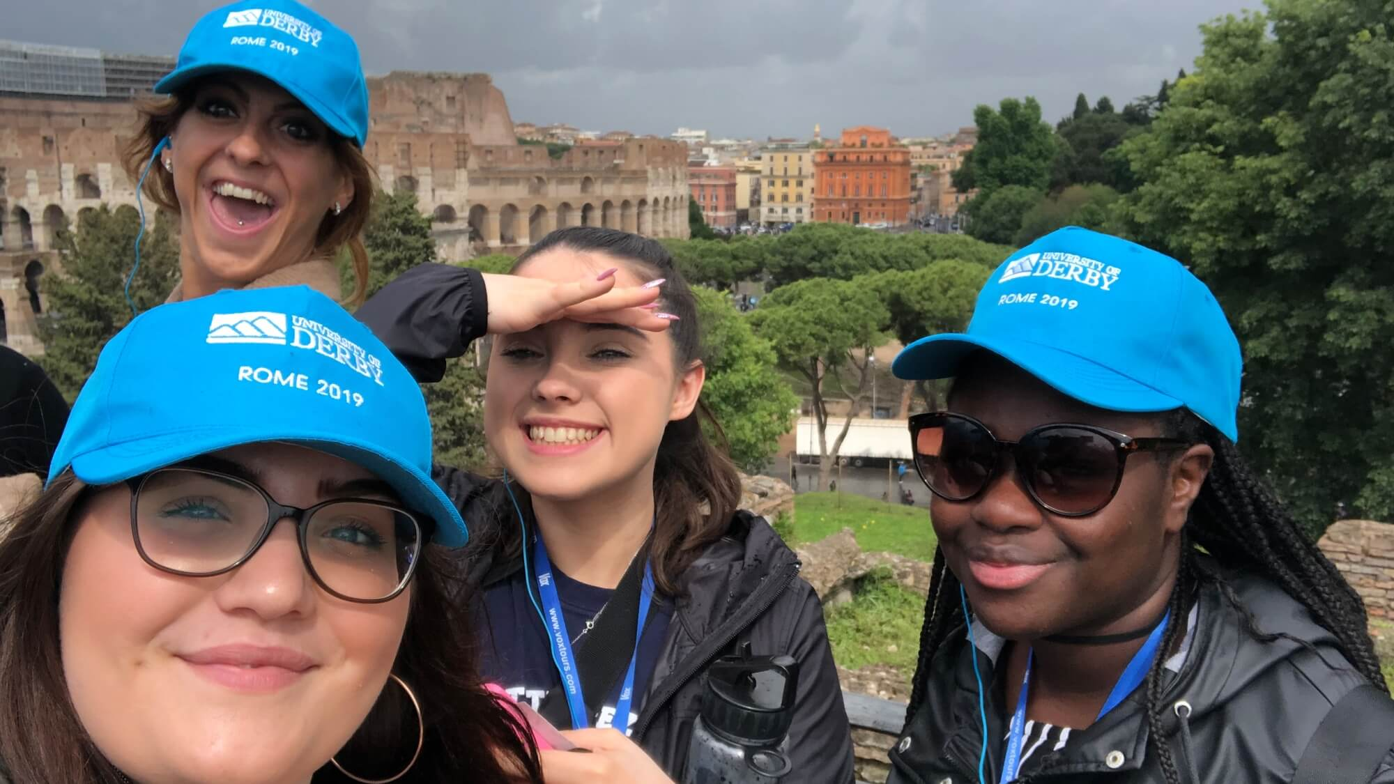 four students in Rome on the international travel award scheme