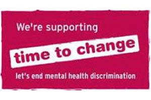 Logo: We're supporting Time to Change - let's end mental health discrimination