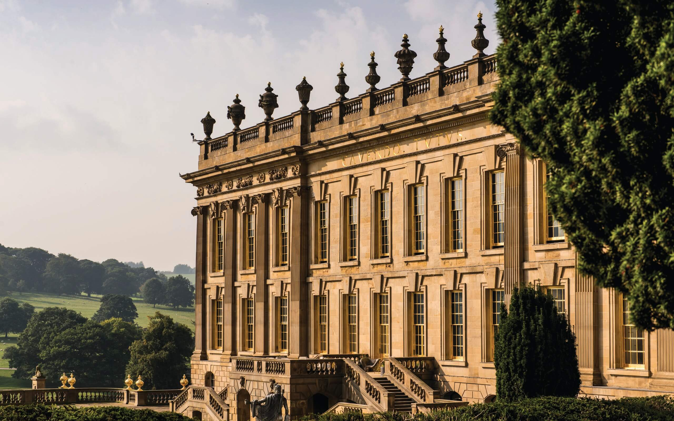 Exterior of Chatsworth house in the sunshine