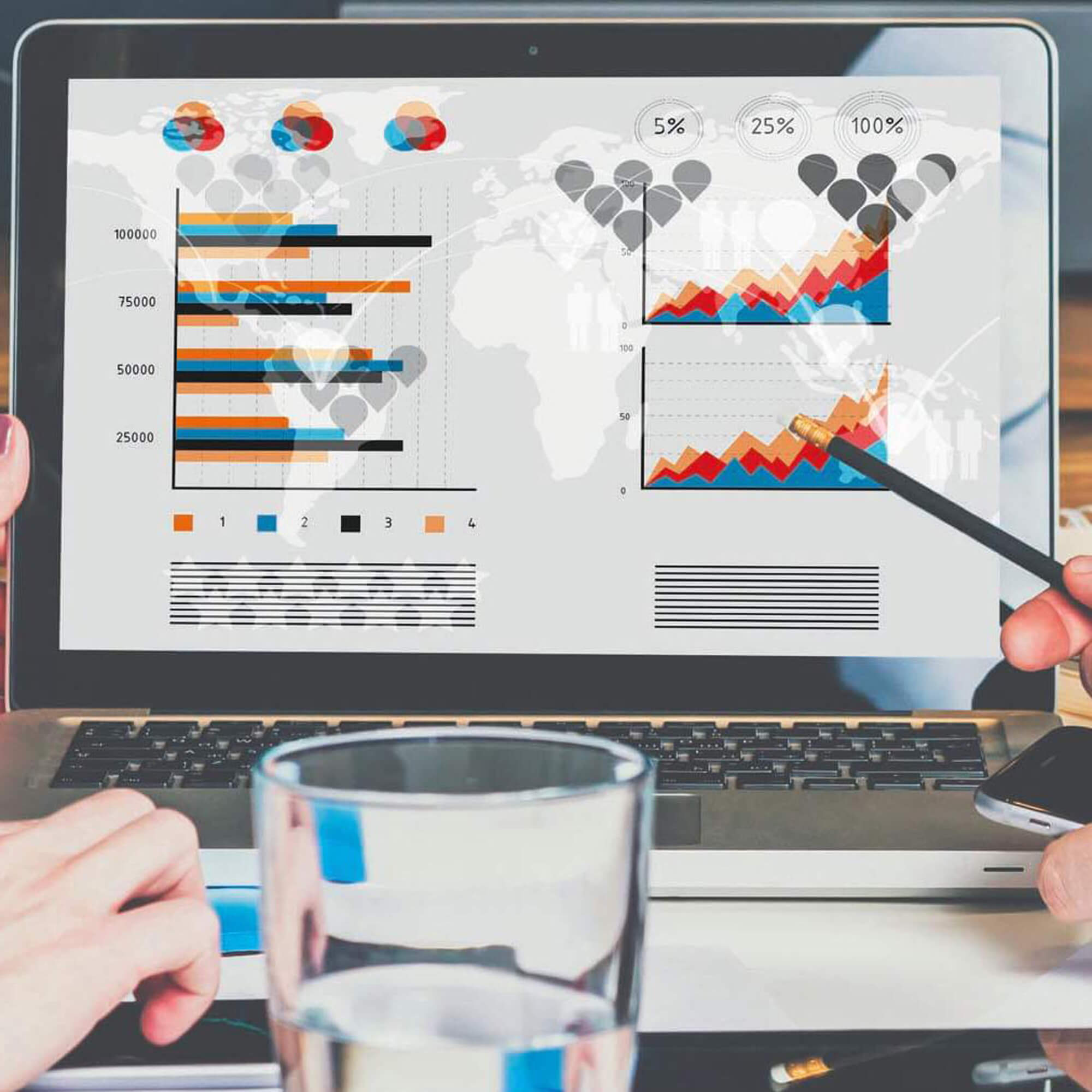 two professionals reviewing a sales marketing dashboard