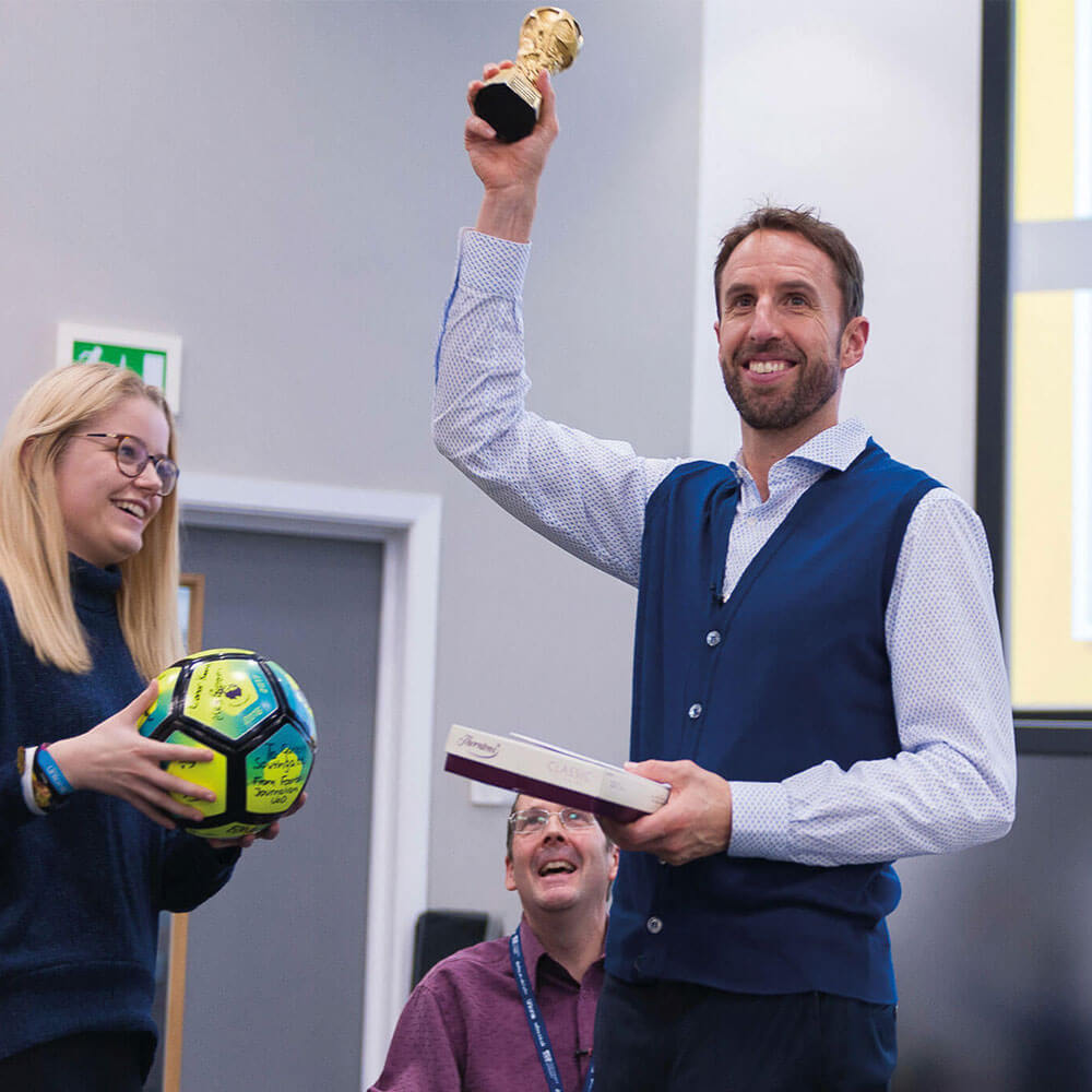 Gareth Southgate giving a talk for Journalism courses