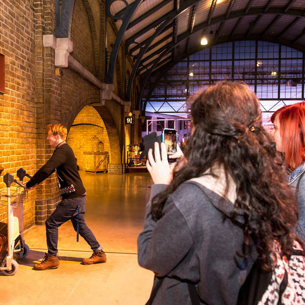 Students visiting Harry Potter studios during trip for Media and Cultural studies courses