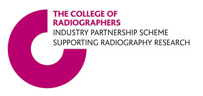 Pink circle with a quarter missing inside this space the text reads: College of Radiographers Industry partnership scheme