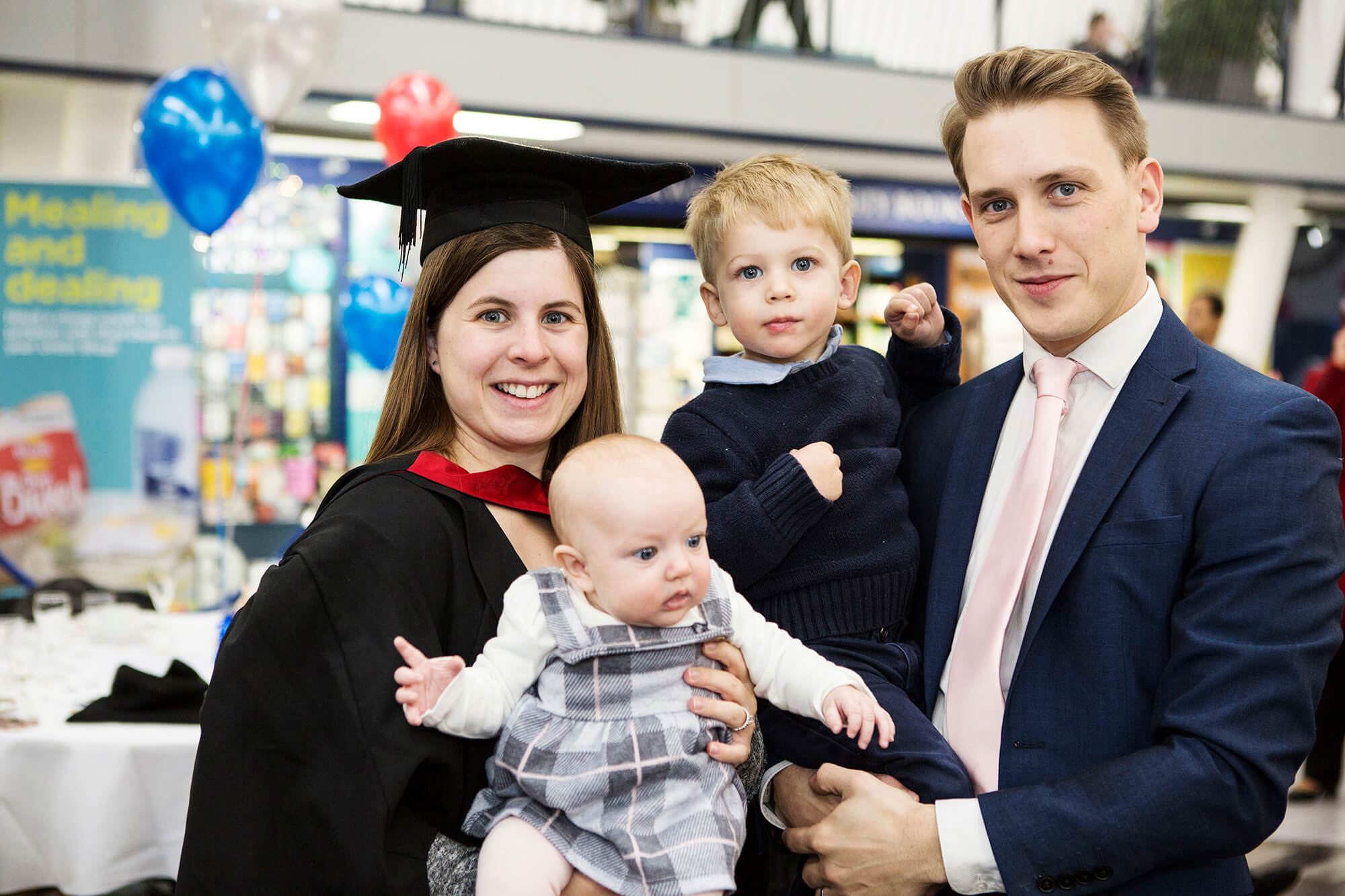 Gabrielle Davies at her graduation with her family