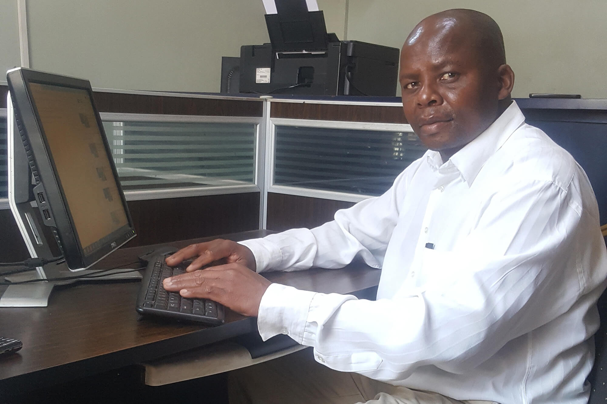 Online student Gilson Timire sat studying