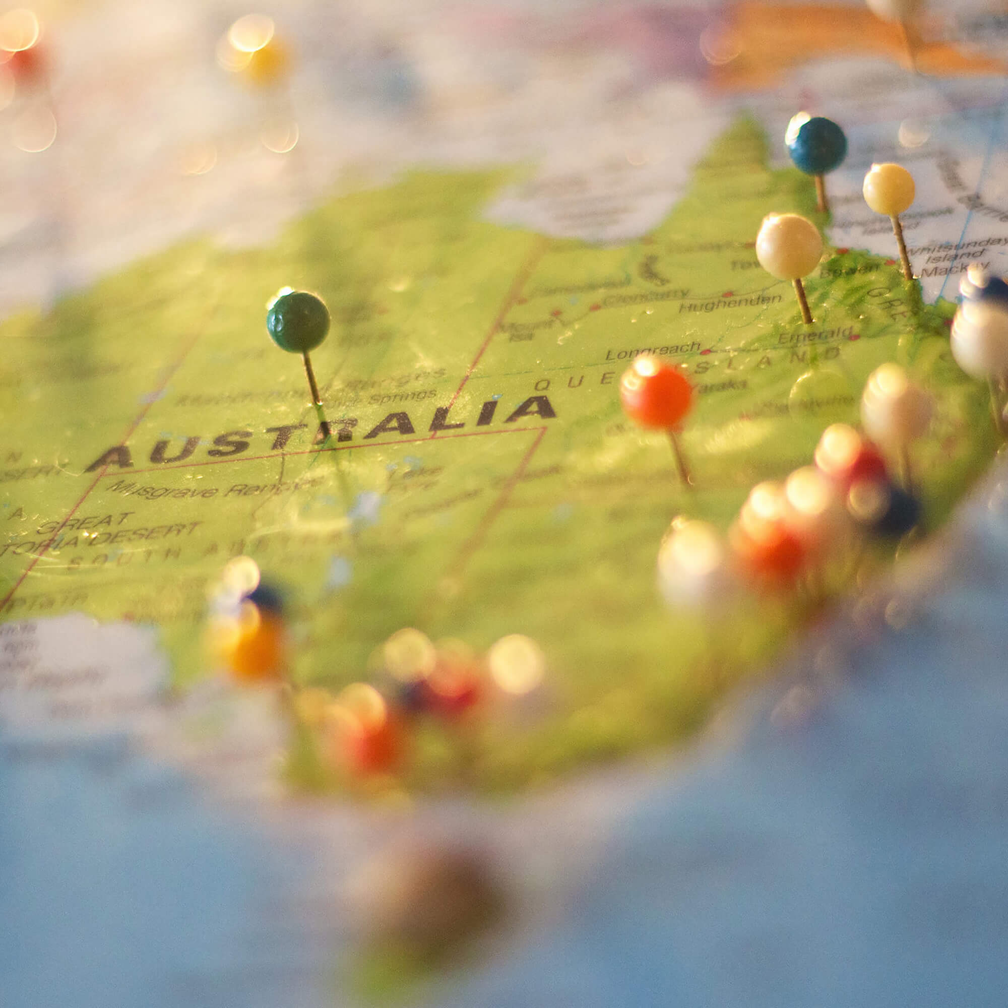 A map of Australia with pins in
