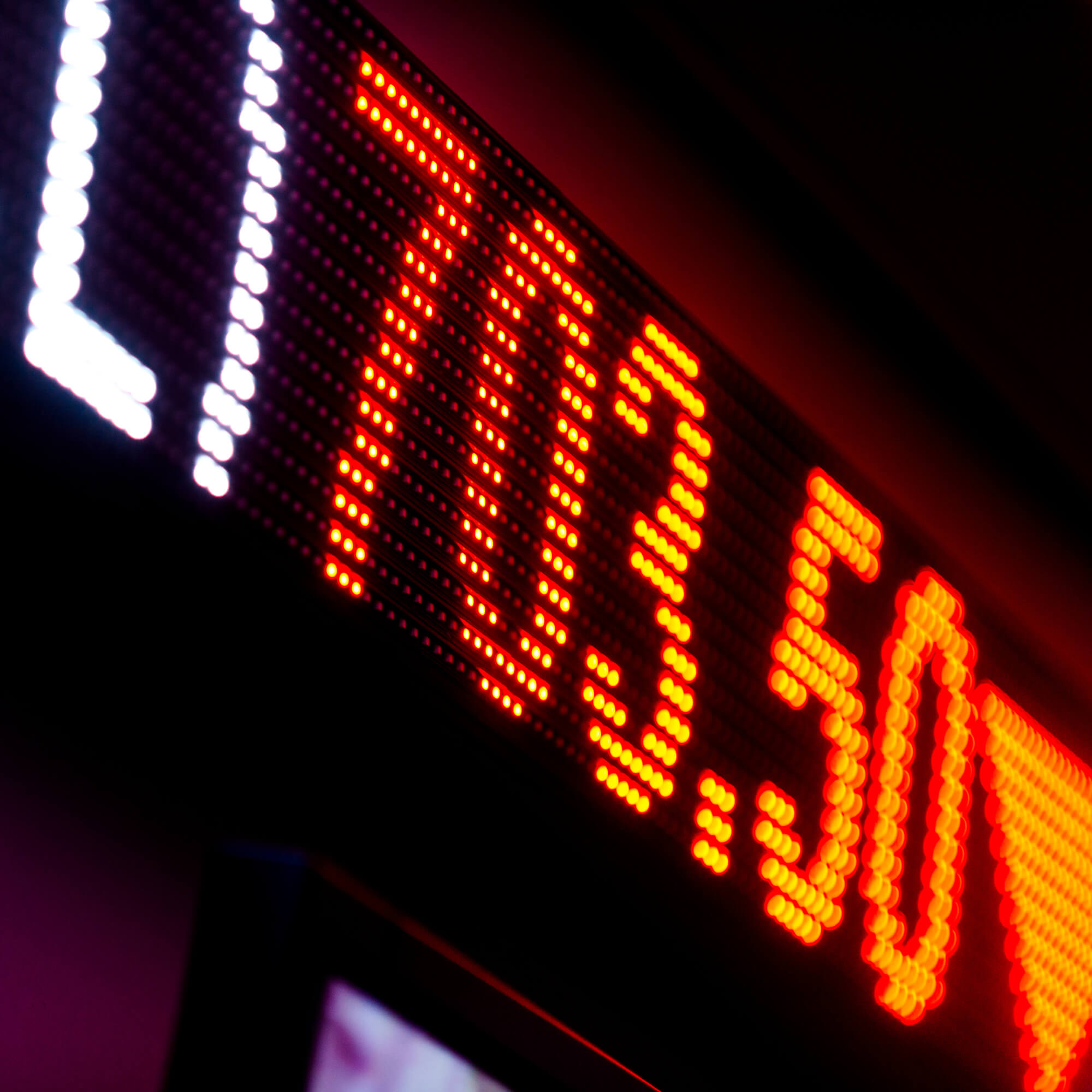 An led stock ticker from the University of Derby Bloomberg suite