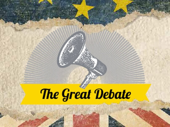 Microphone titled The Great Debate
