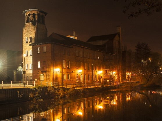 Derby Silk Mill in the dark