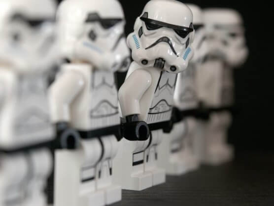 Lego pieces with storm trooper from star wars
