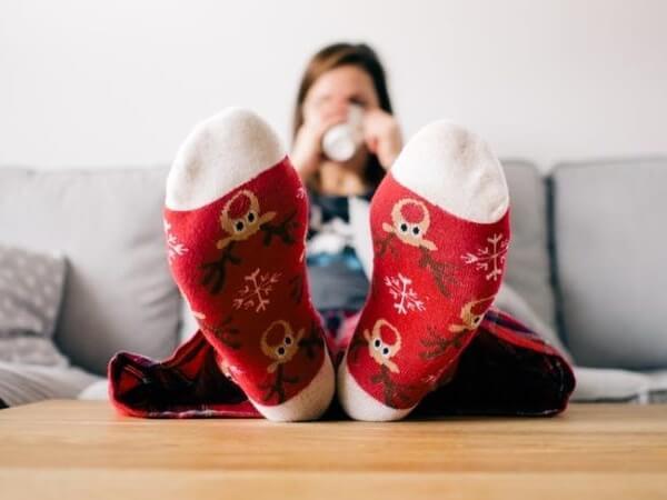 Pyjamas and socks Christmas pattern
