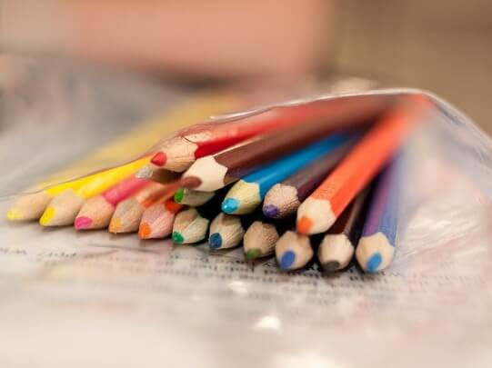 A bag of coloured crayons
