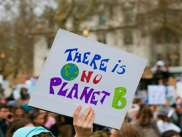 person holding a poster titled there is no planet