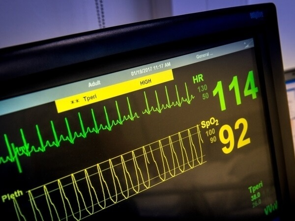 Screen showing heart rate