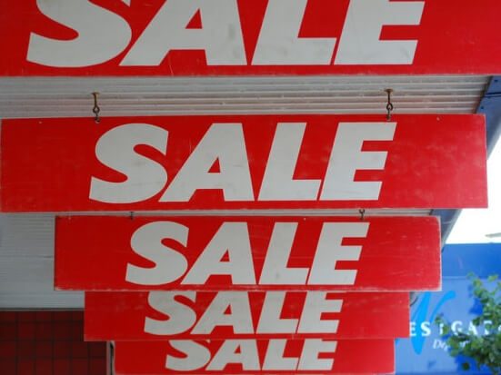 Sale boards in red
