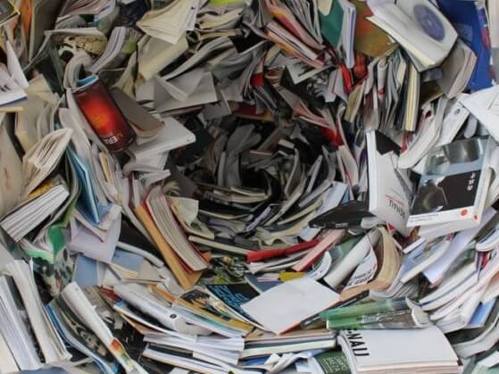 A pile of books in a whirlwind shape