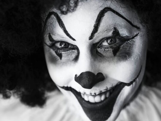 Clown in black and white