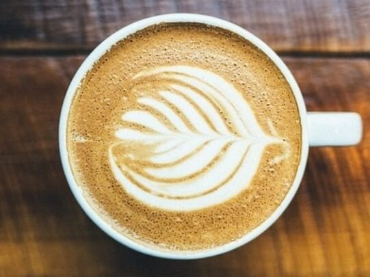 coffe with a shape on the foam
