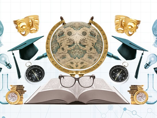 symbols of university life: a globe, mortar board caps, calculators, a compass, books, lab equipment, x-rays, theatrical masks