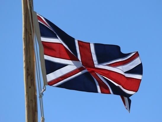 British flag on a pole