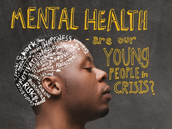 Mental health: are our young people in crisis? A young person with a multitude of thoughts going through their head.