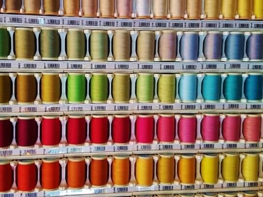 coloured thread rainbow