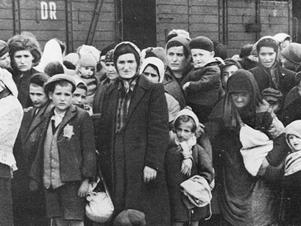 Arrival of women and children at Auschwitz Birkenau in May 1944