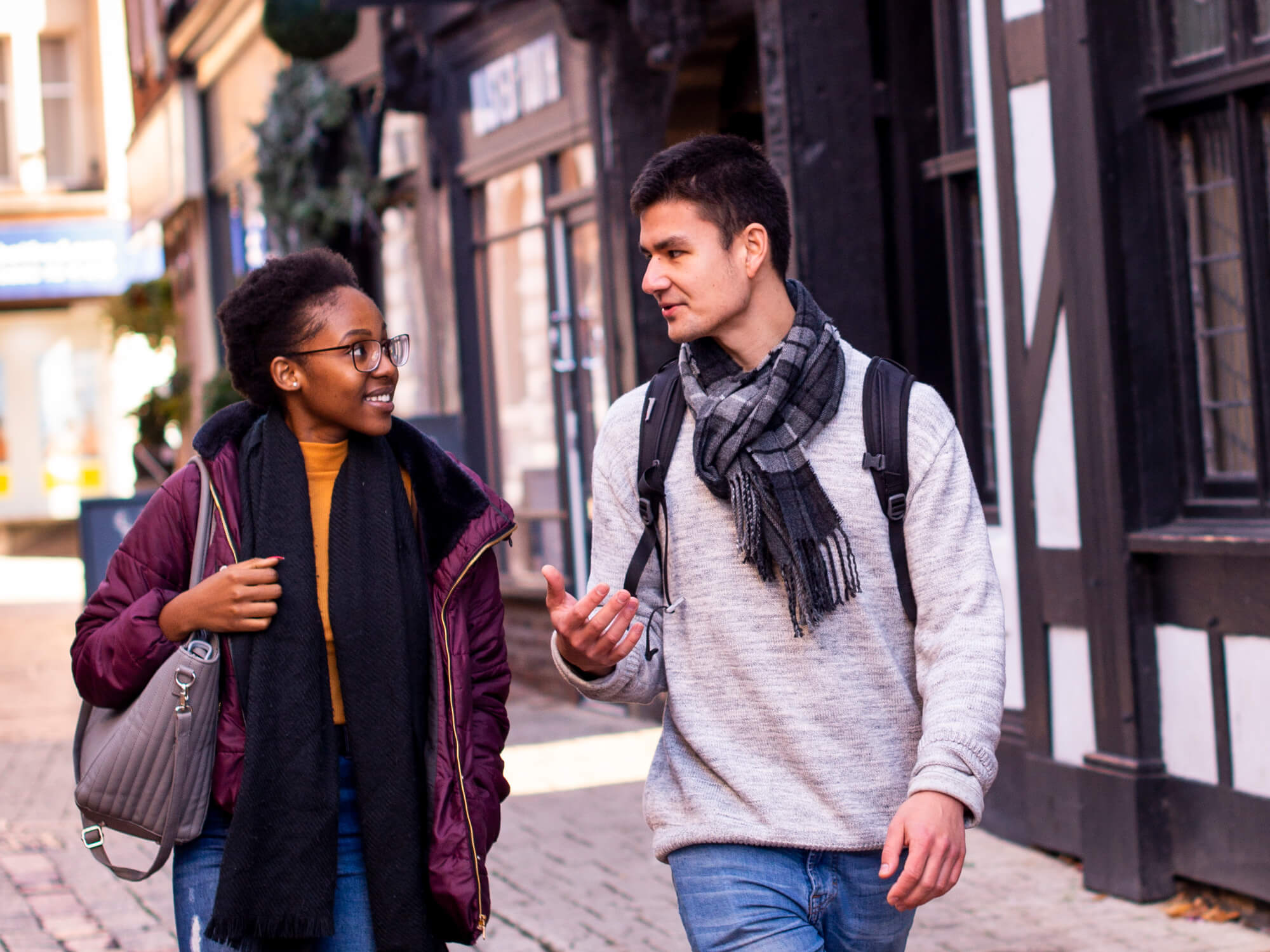 Two Students walking through derby together
