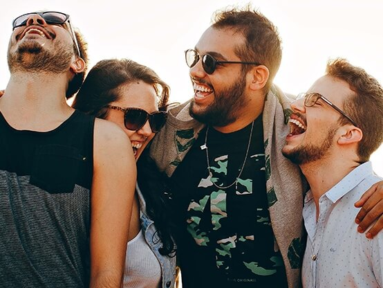 A group of friends laughing