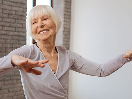 Elderly person dancing