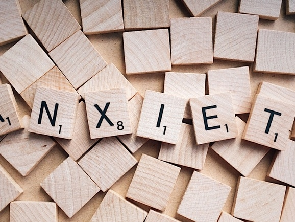 Scrabble letters reading anxiety