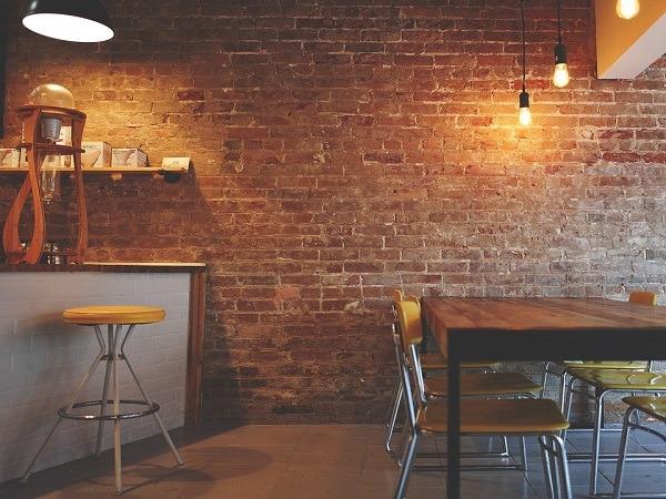 An empty, modern, cafe