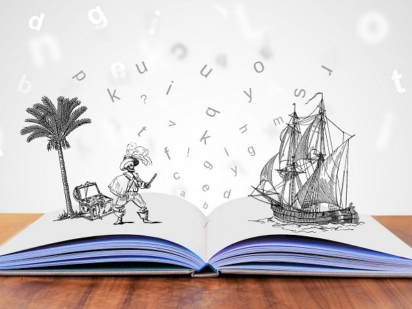 A popup book with a pirate, treasure, and ship.