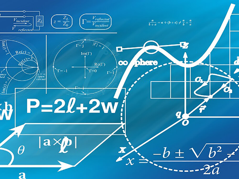 Maths equations and diagrams on a blue background