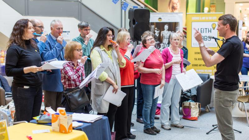 Choir singing in Atrium