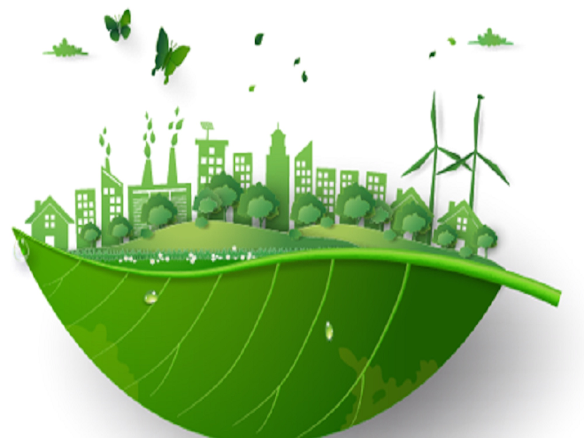 An animated green leaf with a cityscape above